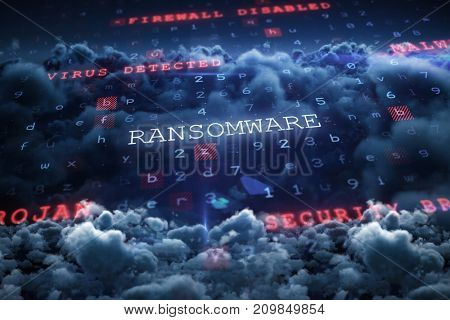 Virus background against scenic view of cloudscape at night