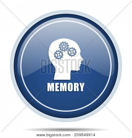 Memory blue round web icon. Circle isolated internet button for webdesign and smartphone applications.