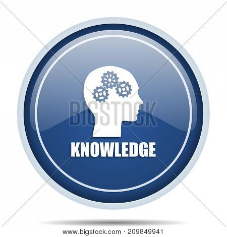 Knowledge blue round web icon. Circle isolated internet button for webdesign and smartphone applications.