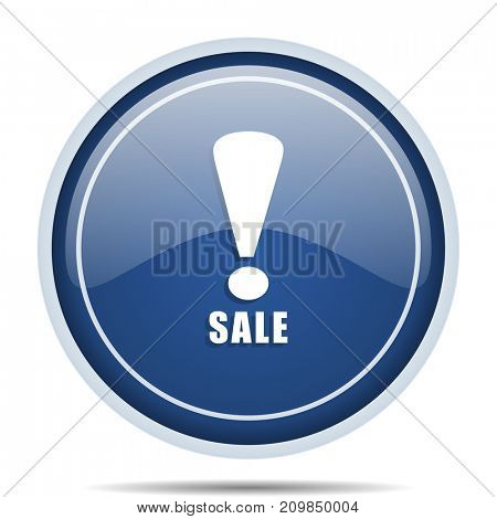 Sale blue round web icon. Circle isolated internet button for webdesign and smartphone applications.