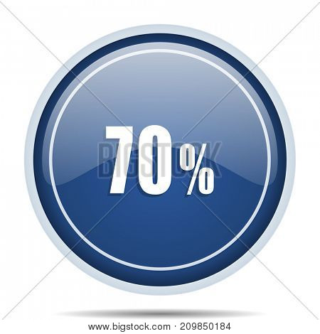 70 percent blue round web icon. Circle isolated internet button for webdesign and smartphone applications.