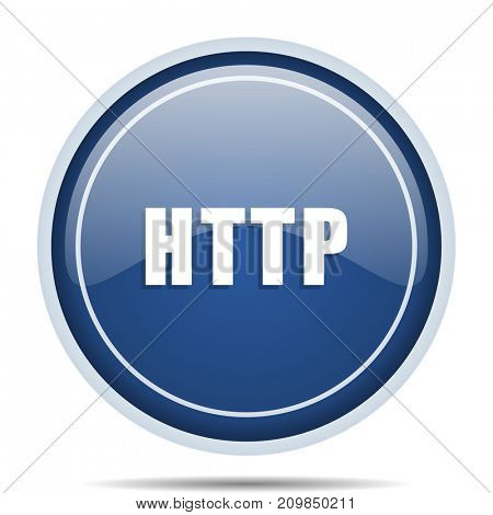 Http blue round web icon. Circle isolated internet button for webdesign and smartphone applications.