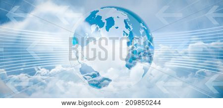 Global business graphic in blue against tranquil scene of overcast against sky