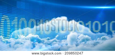 Binary code on digital screen against low angle view of white clouds against sky