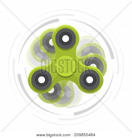 Green hand spinner in motion. Toy for increased focus, stress relief. Fidget relax and meditation. Flat icons. Colored moving spinner. Gadget plaything. Vector illustration art.