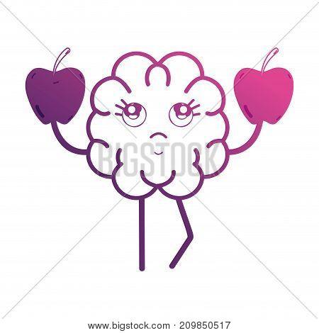 line kawaii brain with apples fruit vector illustration