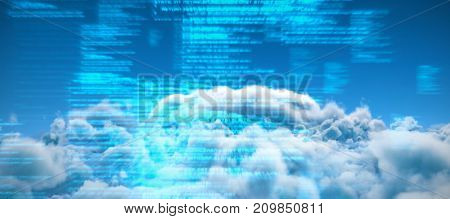 Scenic view of clouds against sky against blue blurred texts
