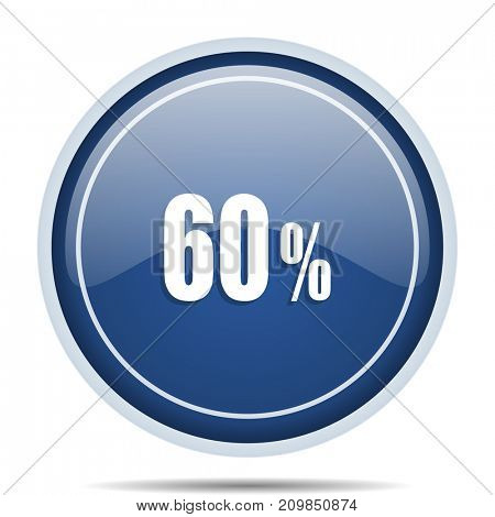 60 percent blue round web icon. Circle isolated internet button for webdesign and smartphone applications.