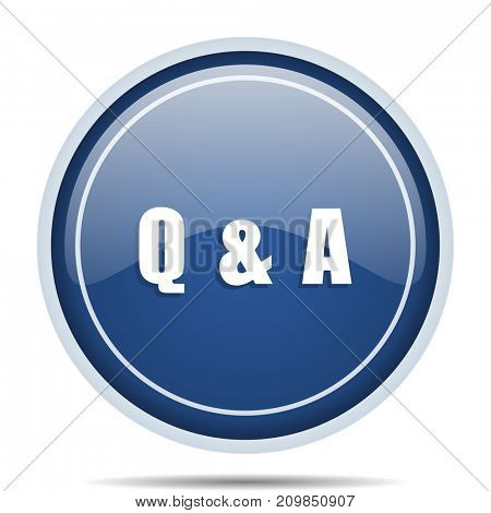 Question answer blue round web icon. Circle isolated internet button for webdesign and smartphone applications.