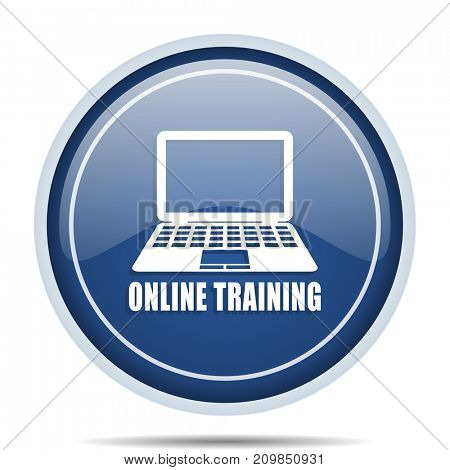 Online training blue round web icon. Circle isolated internet button for webdesign and smartphone applications.