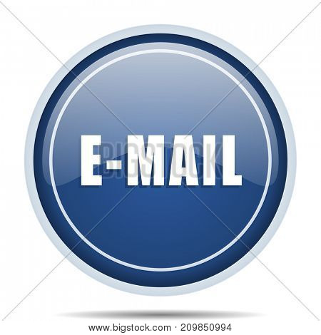 Email blue round web icon. Circle isolated internet button for webdesign and smartphone applications.