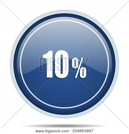 10 percent blue round web icon. Circle isolated internet button for webdesign and smartphone applications.