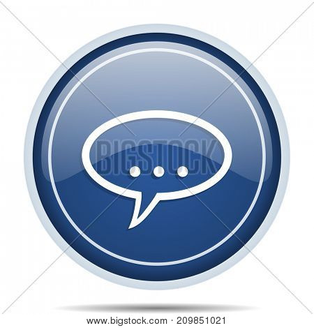 Forum blue round web icon. Circle isolated internet button for webdesign and smartphone applications.