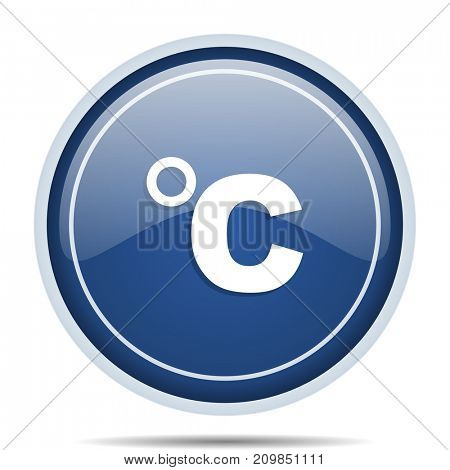 Celsius blue round web icon. Circle isolated internet button for webdesign and smartphone applications.