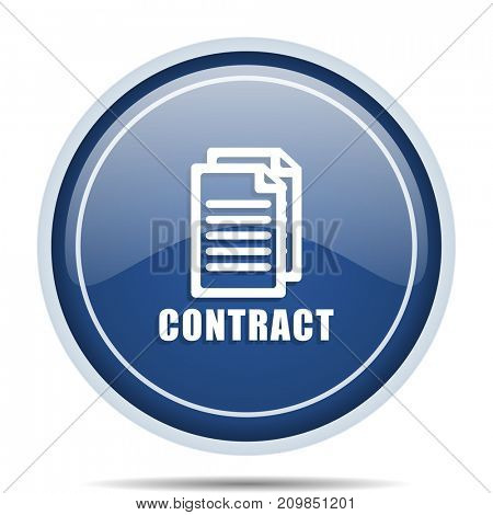 Contract blue round web icon. Circle isolated internet button for webdesign and smartphone applications.