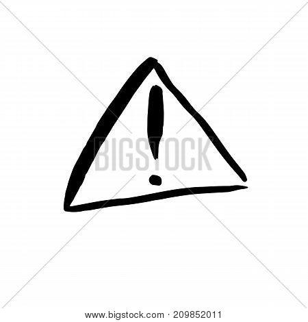 Warning exclamation mark. Icon vector symbol. Grunge design texture. Black ink element on white background