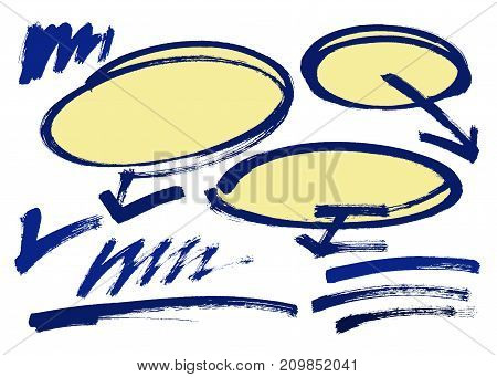 Set of hand drawn grunge design elements, frames, speech bubbles, boxes and brush strokes. Vector illustration