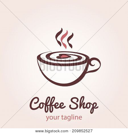 Illustration of cup of coffee with foam in the form of heart. Vector logo template for cafe restaurant menu coffee shop.