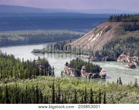 Landscape of the Yukon river in Canada