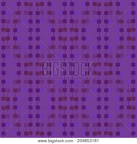 Abstract geometric background. Regular squares pattern with wiggly lines vertically blurred in purple and brown shades.