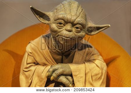 Berlin - March 2017: Master Yoda wax figure in Madame Tussauds museum