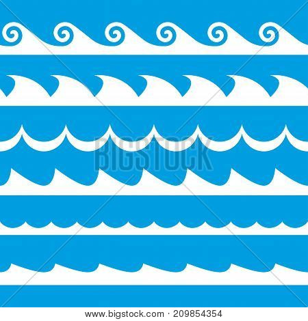 Wave set. Waves seamless pattern. Decoration template of sea and ocean waves. Vector illustration.