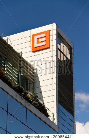 Prague, Czech Republic - October 14: Cez Group Company Logo On Headquarters Building On October 14,