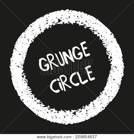 Hand drawn grunge circles. Hand painted frames with pastel crayons. Abstract textured chalk elements. Ornamental round doodle shapes. Graphic design element on black background. Vector illustration.