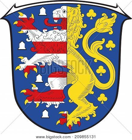 Coat of arms of Hochtaunuskreis is a district in the middle of Hesse Germany. Vector illustration