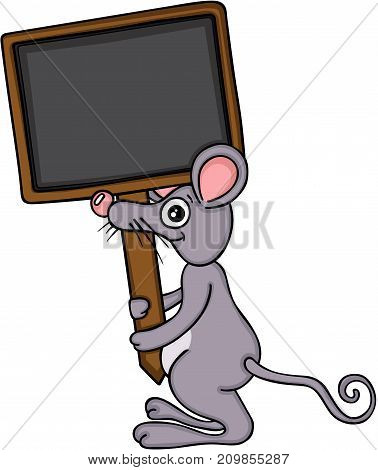 Scalable vectorial image representing a mouse holding blank wooden signboard, isolated on white.