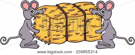 Scalable vectorial image representing a two mouses carrying bale of hay, isolated on white.