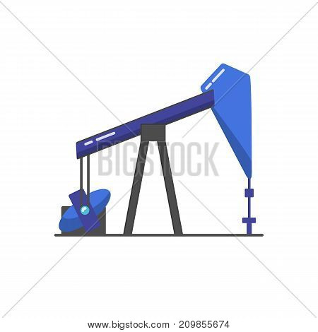 Oil rig icon in flat style. Exploration and oil production symbol isolated on white background.