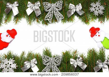 Christmas Background. Top View With Copy Space. Fir Tree With Cone Isolated On White Background