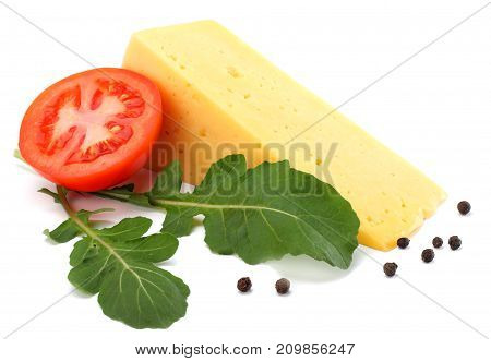 Piece Of Cheese With Rucola Isolated On White Background