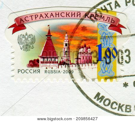 GOMEL, BELARUS, 13 OCTOBER 2017, Stamp printed in Russia shows image of the Astrakhan kremlin, circa 2009.