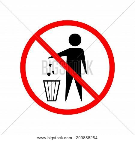 Do not litter sign. Silhouette person on white background. No throwing garbage mark in red circle. Take care of clean nature symbol. Colorful template for badge banner label. Design flat element. Vector illustration.
