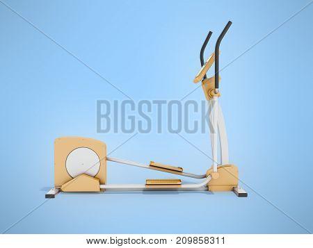 Modern Treadmill Gym Orange 3D Rendering On Blue Background