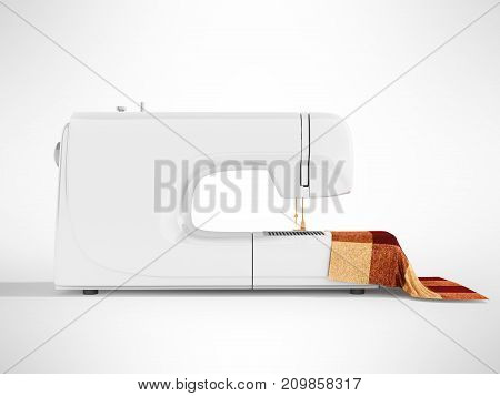 Modern White Sewing Machine With Material For Tailoring On The Right 3D Render On A Gray Background