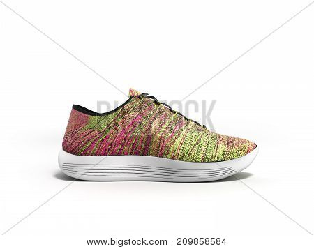 Pink Sport Shoes 3D Render On White Background