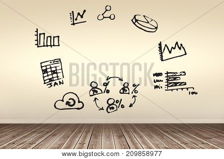 Computer icons against white background against room with wooden floor