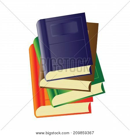 Set of Colored paper books isolated on white background