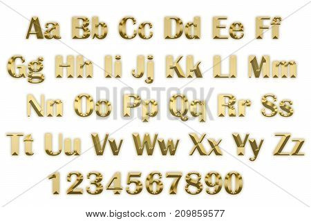 3d alphabet in gold letters on a white background