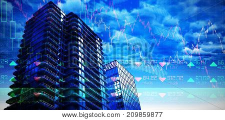 3d illustration of office buildings against stocks and shares