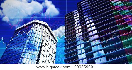 3d illustration of modern buildings against stocks and shares