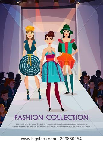 Fashion collection on girls models walking on podium in spotlights, spectators watching presentation of clothing vector illustration