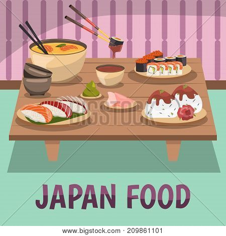Traditional japanese food background poster with sushi sashimi wasabi curry soy sauce and chopsticks orthogonal vector illustration