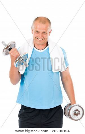 Happy Mature Man Working Out With Dumbbells