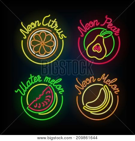 Neon signs. The set of different light sign with fruit on a dark background. Stock vector.