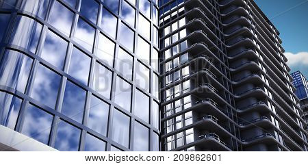 3d illustration of modern office against scenic view of clouds against sky