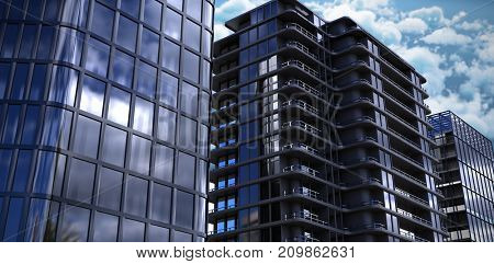 Vector image of 3d office buildings against tranquil scene of clouds against sky